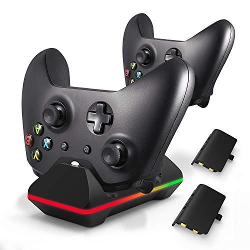 Cargador de controlador para Xbox One, CVIDA Dual Xbox One/One S/One Elite (no para Xbox Series X/S 2020) estación de carga con 2 paquetes de baterías recargables de 1600 mAh para dos controladores inalámbricos Kit de carga