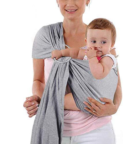 Babytragetuch Babytragetücher Kindertragetuch Babybauchtrage Neugeborene ab Geburt ohne Binden Knoten Baumwolle mit Ring (grau)