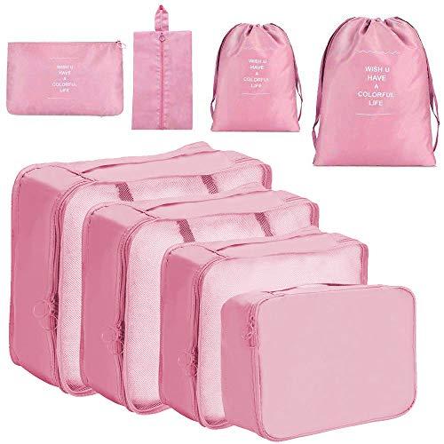 Meowoo organizer valigie Organizer Valigia organizer viaggio Cubi Organizzatori Viaggio 8 set viaggio organizer Packing cubi viaggio -8 pezzi (Rosa)