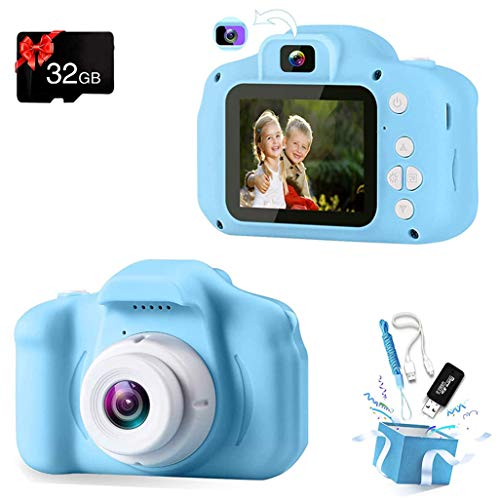 Podokas Kids Camera Selfie Dual Lens Shockproof Digital 1080P HD Video Camcorder, Charming Christmas Birthday Gifts for Boys Toddler Age 3-10 Portable Game Toys with 32G SD Card (Blue)