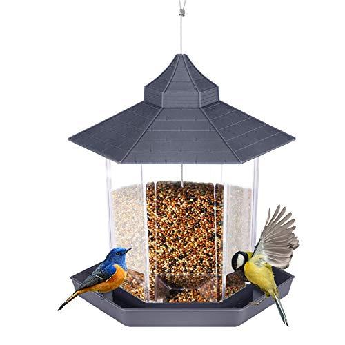 Kearui Wild Bird Feeders, Hummingbird Feeders for Outdoors Hexagon Shaped with Roof Hanging, for Bird Watchers, Gazebo and Garden Yard Decoration, Grey
