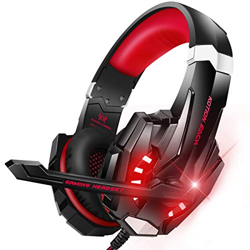 BENGOO G9000 Stereo Gaming Headset for PS4, PC, Xbox One Controller, Noise Cancelling Over Ear Headphones with Mic, LED Light, Bass Surround, Soft Memory Earmuffs (Red)