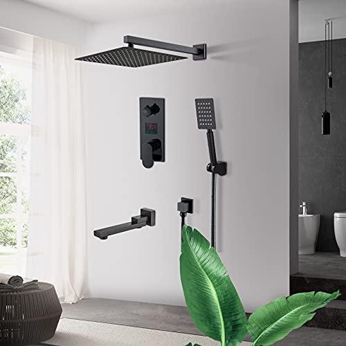 JUNSHENG Set doccia,Sistema Di Doccia 3 Funzione,Sistema doccia a incasso con display LCD,indicatore di temperatura,12 pollici,ottone