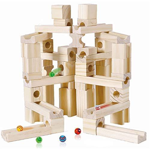 LBLA Canicas de Madera Bloques de Construcción Trayectoria de Mármol Juguetes, Juguetes de Madera Montessori, Los Mejores Regalos para 3 4 5 6 Piños y Niñas (60 Piezas)