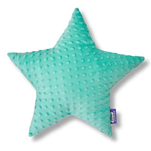 JUKKI® Baby, Kinder Kopfkissen Daunen Kissen Stern 40x40cm mehrfarbig zu 100% aus Minky Material und von Hand genäht für Mädchen und Junge, antiallergisch (Minky Minze)
