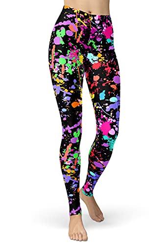 lulucheri 80er Leggings Damen Bunt Print Leggings Oil Painting Graffiti Yoga Strumpfhosen Sporthose Leggins Lang, Schwarze Graffiti, L/XXL (Taille 76cm-96cm)