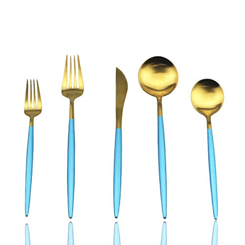 JASHII Silverware Sets, 20-Piece Flatware 18/10 Stainless Steel Heavy Weight Forged Cutlery Eating Utensils Forks Spoons Knives Set Tableware Service for 4 Matte Finished (Blue & Gold)