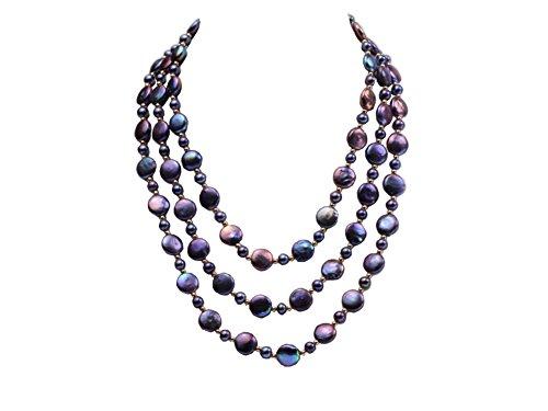 Collana con perle coltivate d'acqua dolce rotonda JYX 6-7mm a 3 file