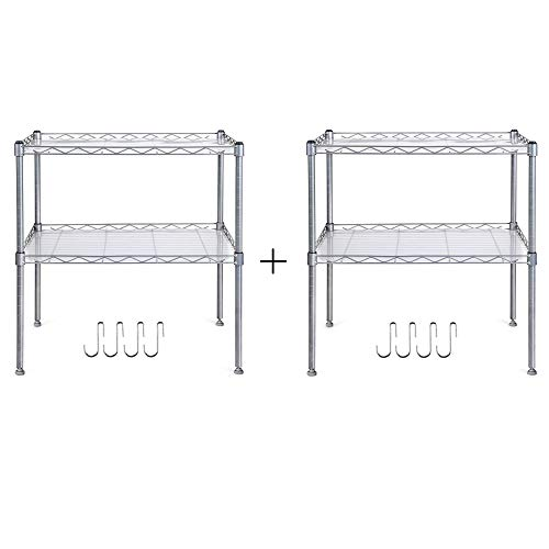 Homfa Küchenregal Mikrowellenhalter Standregal Küchenschrank 2 Ablage Kohlenstoff Stahl mit 4 Haken 54x34x58cm (2)