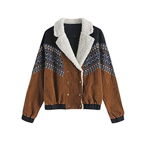 ZAFUL Chaqueta de pana para mujer, con doble hilera, estampado tribal, cuello informal, piel de oveja, corta marrón L