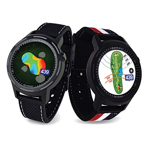 Learn More About Golf Buddy Aim W10 GPS Watch aim W10 Golf GPS Watch with Red/White/Blue Wristband, ...