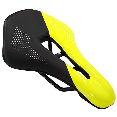 Acekit Comfortable Bike Seat Ergonomics Design Breathable Suspension Gel Bike Saddle Cushion for Mountain Bike Road Bike-Yellow
