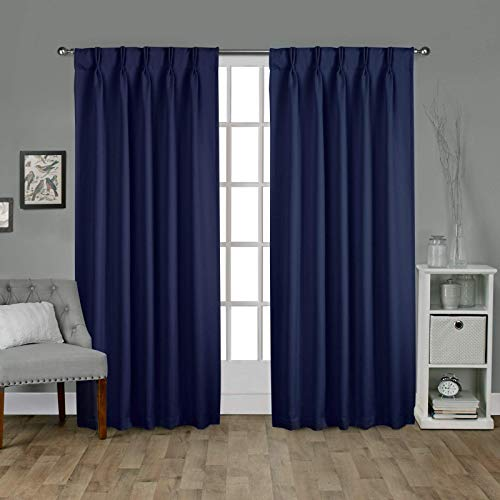 EcoDrapes Double Pinch Pleated Blackout Window Curtain Panel & Drapes (2 Panels Combined Size, Navy Blue, 52 Inch by 54 Inch)