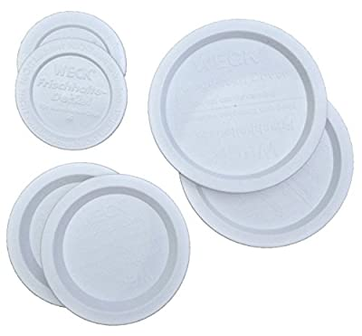Weck Jar Keep-Fresh Plastic Lids Variety Pack. Includes 2 Small, 2 Medium and 2 Large lids (6 items) Fits all Weck Jar Models