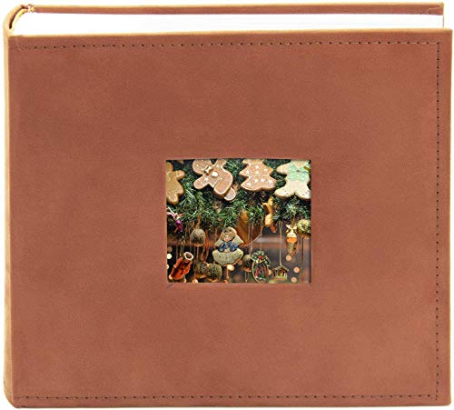 Golden State Art Photo Album - Rust Color - Holds 200 4x6-in Pictures (2 per Page) - One 3x3 Front Opening - Smooth Suede Style Cover