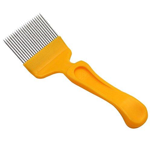 Tenedor de acero inoxidable con mango de plástico para desengancharse, cuchillo de miel, corcho, agujas rectas, herramientas de apicultura, amarillo