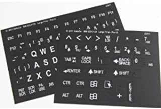 Large Print English Keyboard Stickers Labels Overlays (Lexan polycarbonate, 3M adhesive) for the Visually Impaired (Non Transparent - Black with White Letters)