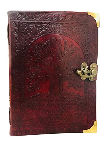 Leather Celtic Tree of Life Book of Shadows Blank Spell Book Wicca (Brown Large)