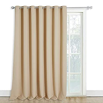 NICETOWN Sliding Door Window Treatment, Blackout Patio Door Curtain Panels, Privacy Thermal Drapes for Department with Grommet Top (Biscotti Beige, W100 x L108)