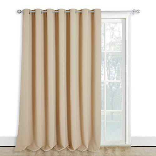 NICETOWN Sliding Door Window Treatment - Blackout Patio Door Curtain Panels, Privacy Thermal Drapes for Department with Grommet Top (Biscotti Beige, W100 x L108)