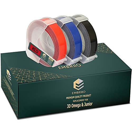EMBRIIO | 3 Kassetten Etiketten 3D Prägeband Schriftband Ersatz für Dymo Junior S0717900 | Weiß auf Rot/Blau/Schwarz | 9 mm x 3 m | Selbstklebende | Kunststoff