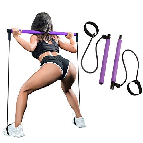 SIYWINA Barra di Pilates Kit Portatile Barra di Banda a Lunga Resistenza per Esercizi Fitness