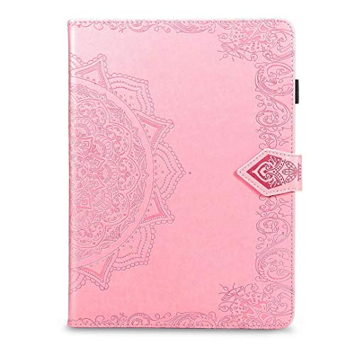 Jennyfly 2017 iPad 9.7 Case, PU Leather Wallet Case Multi-Viewing Hand Free Folio Stand Smart Auto Wake/Sleep with Pen Strap/Card Slot for iPad Air/Air 2/2016/2017/2018 iPad 9.7 inch - Pink