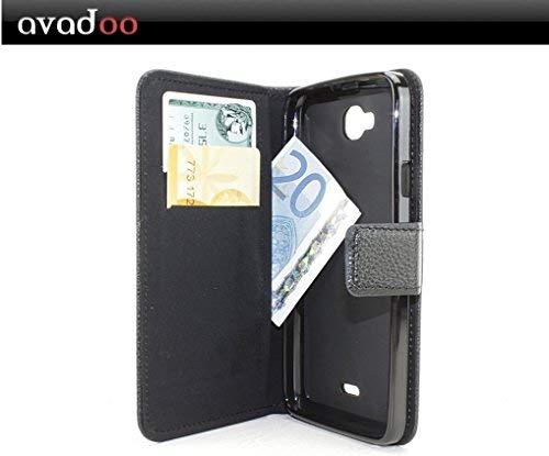 avadoo® Wiko Slide Flip Hülle Cover Tasche Schwarz mit Magnetverschluss & Dualnaht als Cover Tasche Hülle