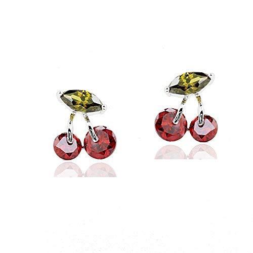 Pendientes de colgante de cereza con cristales austriacos de circonia roja, 18 quilates, con acabado en oro blanco, para mujeres y niñas