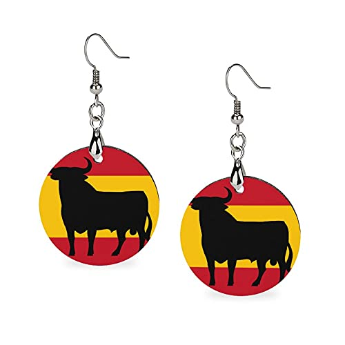 Women Retro Wooden Round Earrings Loop Ear Decor for Date Cosplay Birthday (Flag Of Spain With Osborne's Bull Earrings)