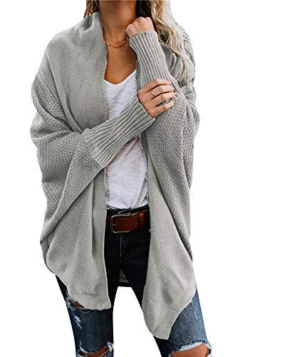 Damen Strickjacke Winter Herbst War Gestrickt Poncho Langarm Asymmetrisch Warm Elegant Locker Oversive Kimono Cardigan Mantel Strickwaren Grau