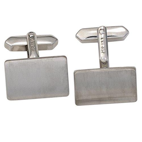 JOBO Manschettenknöpfe 925 Sterling Silber rhodiniert mattiert