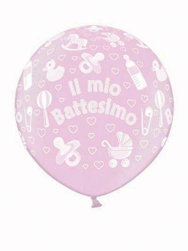 Belbal- Pallone Lattice 1 Metro Battesimo Met 071-Professionale, Rosa, 5BEB2504036