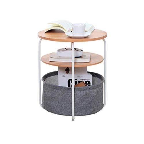 Planken 3 Tiers eind tabel met Storage Basket Round Coffee Side Table Modern Night Stand kleine bank End Telefoon bij het bed Table Storage Unit for de woonkamer Slaapkamer, 42 keer;42 keer;51 cm, Kle