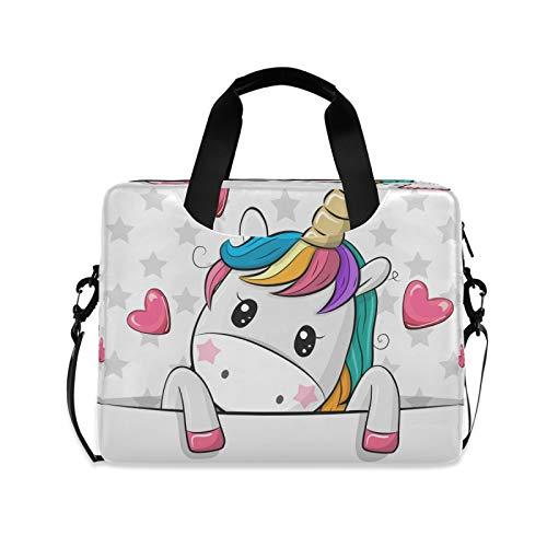 BGIFT - Bolsa para ordenador portátil para hombre y mujer, diseño de unicornio con corazón de animales de 15.6 13 14 16 pulgadas