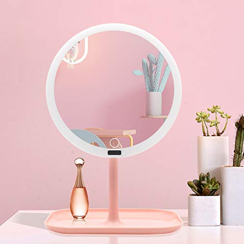 YUXIwang Espejo Maquillaje Plegable Espejo, la Pantalla táctil de atenuación Ajustable 270 ° de rotación, la batería y USB Alimentado Encendido for Arriba Encimera Espejo cosmético