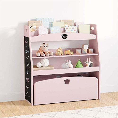 Estante del estante de exhibición, niños de juguete y libro del organizador del almacenaje, la caja de juguetes Muebles pecho con la revista Rolling Box, multiuso juguete madera estante en el cuarto d