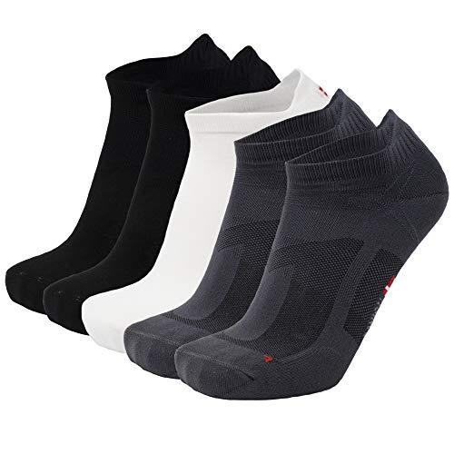 DANISH ENDURANCE Low Cut Pro Running Chaussettes (EU 39-42, De Plusieurs Couleurs (2 x Noir, 2 x Gris, 1 x Blanc) - 5 Paires)