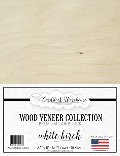 White Birch Wood Veneer Paper from Cardstock Warehouse 8.5 x 11 inch - 12Pt Text - 10 Sheets