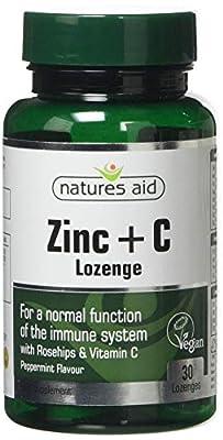 Natures Aid Zinc Lozenge (Peppermint) with Rosehip + Vitamin C (Gluten Free, 30 Vegan Lozenges)