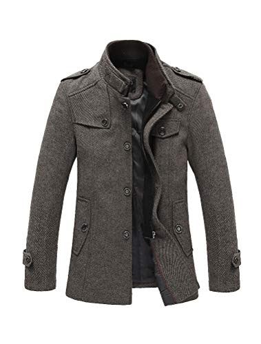 PASOK Men's Wool Blend Jacket Stand Collar Trench Overcoat Single Breasted Quilted Pea Coats Khaki XXS