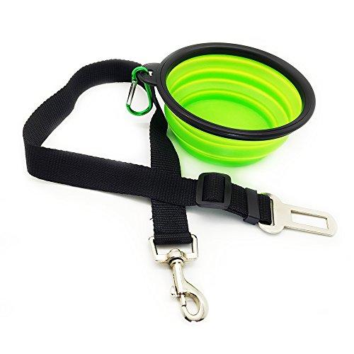 Eightnight Portable Travel Walking Camping Pieghevole Bowl Bowl Piatto Pieghevole e Sicurezza Sedile Cintura di Veicolo Auto per Il Cane Pet Dog