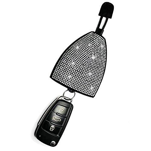 Bling Rhinestone KeyChain Leather Car key Fob Case for Women (White)