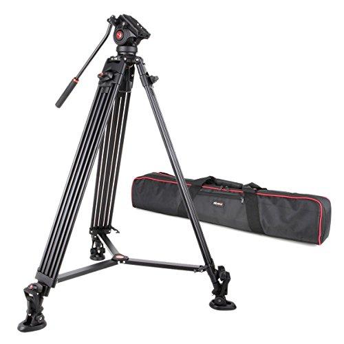 VILTROX® VX-18M 188cm / 74 Zoll Panorama Kamera Dreibein-Stative mit Fluid Drag Kopf für Canon Nikon Sony DSLR Kamera & DV Camcorder, Aluminiumlegierung