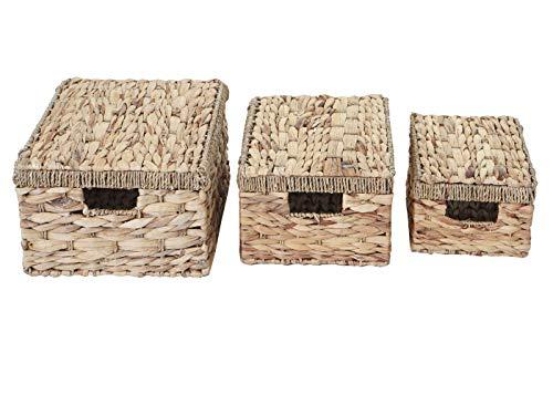 Mendler 3er Set Aufbewahrungsbox HWC-C23, Truhe Kiste Box mit Deckel, Wasserhyazinthe naturfarben - 6