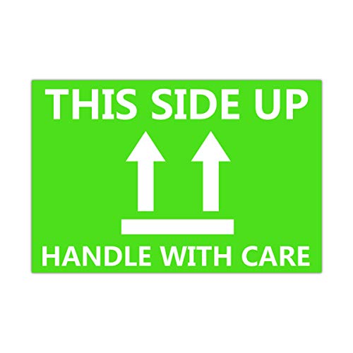 """This Side Up Fluorescent Shipping Label Stickers-2"""" X 3"""" This Side Up Warning Stickers for Shipping and Packing-300 Adhesive Labels Per Roll (Green/White)"""