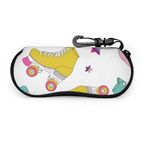 DAIDYA Brillenetui, Skate Rolls Pattern Drawing Sonnenbrille Soft Case Ultraleichtes Neopren-Reißverschluss-Brillenetui mit Karabiner, Lesebrillenetui