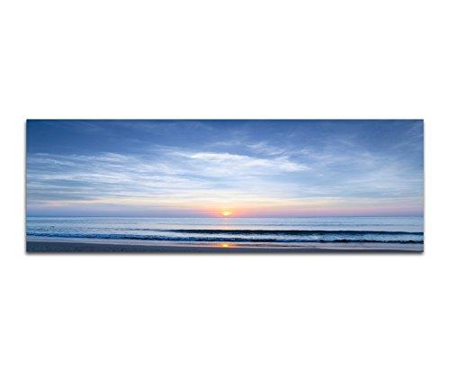Paul Sinus Art Panoramabild auf Leinwand und Keilrahmen 150x50cm Meer Strand Wellen Wolkenhimmel Sonne