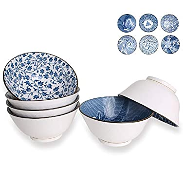 Deep Bowls for Cereal, Soup, Salad, 20-Ounce, Assorted Blue and White Patterns, Set of 6