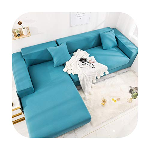 Sofa covers Sofa Protector Corner Sofa Cover L Shape Need to Buy 2 Pieces of Normal Cover Couch Cover Stretch Protector Copri Divano-T01Hb3407-Lake Blue-Pillow Casex2 45X45